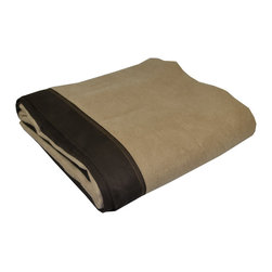 "Pur by Pur Cashmere - Signature Blend Throw Sand  50""x65"" - Bamboo velvet hampton throw with ultrasuede edging. 100%  bamboo with ultrasuede trim. Dry clean only. Inner mongolia."
