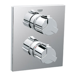 Grohe - Grohe 19304000 Starlight Chrome Allure Allure Thermostatic Valve Trim - Product Features:Fully covered under Grohe s limited lifetime warrantyTrim constructed of brass - ensuring durability and providing aesthetic appealPremier finishing process - finishes will resist rusting and corrosion through every day useGrohe faucets are exclusively engineered in GermanyThe perfect synthesis of form and functionDual function cartridge - separate dials controls volume and temperature independentlyThermostatic valve cartridge with scald guardSecure mounting assemblyAll hardware required for installation is includedRough-in valve not included - when adding to cart valve options will be presentedProduct Technologies / Benefits:Starlight Finish: Continuously improving over the last 70 years GroheÂ's unique plating process has been refined to produce and immaculate shiny surface that is recognized as one of the best surface finishes the world over. Grohe plates sub layers of copper and/or nickel to ensure that a completely non-porous, immaculate surface awaits the chrome layer. This deep, even layered chrome surface creates a luminous and mirror like sheen.TurboStat: By increasing the sensitivity to the thermo element and restructuring the internal waterways, our thermostats react up to twice as fast to abrupt changes in water pressure, and are up to nine times more accurate than the leading competitors. The desired temperature is achieved in seconds and is maintained throughout the duration of your shower. The outstanding precision offered by the TurboStat technology also adds to your showers conservation of water.Valve Trim Specifications:Swinging temperature dial provides optimum controlFeatures independent volume control handlePre-set safety stop with override capabilityEscutcheon (Trim