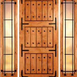 "Jeld-Wen 1303 Handhewn Knotty Alder Door Wheat Finish Clavos - SKU#    1303Brand    Jeld-WenDoor Type    ExteriorManufacturer Collection    Jeld-Wen Exterior Custom WoodDoor Model    Door Material    WoodWoodgrain    Knotty AlderVeneer    Price    $Door Size Options      $Core Type    Door Style    RusticDoor Lite Style    Door Panel Style    PlankHome Style Matching    Rustic , MediterraneanDoor Construction    Prehanging Options    Prehung Configuration    Single DoorDoor Thickness (Inches)    Glass Thickness (Inches)    Glass Type    Glass Caming    Glass Features    Glass Style    Clear Bevel IGGlass Texture    Glass Obscurity    Door Features    Door Approvals    Door Finishes    Antique WheatDoor Accessories    Straps , ClavosWeight (lbs)    340Crating Size    25"" (w)x 108"" (l)x 52"" (h)Lead Time    Warranty"