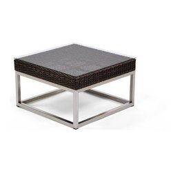 Caluco - Mirabella End Table - The Mirabella End Table combines style, durability, and comfort to provide unmatched value in outdoor seating.  Pictured in the dark java wicker with stainless steel finish.