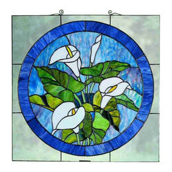 "Meyda Tiffany - Meyda Tiffany 23866 Stained Glass Tiffany Window Woodland Flowers Colle - 20""H X 20""W Calla Lily Stained Glass WindowA bouquet of Pure White Calla Lilies with Bronzed Green leaves are the centerpiece of this Plum touched Midnight Blue circle framed in Clear seedy glass. This Meyda Tiffany original window is handcrafted utilizing the copperfoil construction process and 123 pieces of stained art glass encased in a solid brass frame. Mounting bracket and jack chain included."