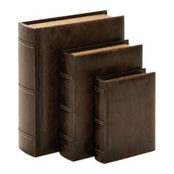 """Benzara - Library Wood Leather Book Set of 3 13"""", 10"""", 8""""H - Library Wood Leather Book Set of 3 13"""", 10"""", 8""""H. Some assembly may be required. Set of 3 - Size: 13,10 and 8 H leather material"""
