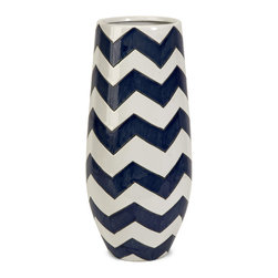 IMAX - Chevron Short Vase - Chevron is a classical graphic pattern getting an updated push with new color combinations. The blue and white zigzags on this vase make a strong statement, whether displayed prominently on the shelf, used to decorate the patio, or filled with a large bouquet of fresh flowers.