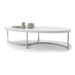 Modern white lacquer oval coffee table Sumu - White coffee table Sumu has a glossy lacquered oval table top mounted on a stainless steel legs. Simple and stylish modern home accent.