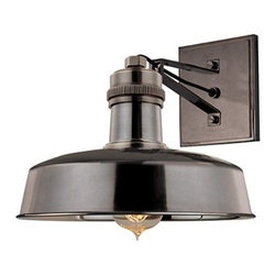 Hudson Valley Lighting - Hudson Valley Lighting 8601 Single Light Down Lighting Wall Sconce - Contemporary / Modern Single Light Down Lighting Wall Sconce with Round Metal Shade from the Hudson Falls CollectionHudson Falls Collection Single Light Down Lighting Wall Sconce with Round Metal Shade.Features: