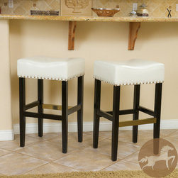 Christopher Knight Home - Christopher Knight Home Louigi Ivory Backless Leather Barstools (Set of 2) - These comfortably soft, bonded leather barstools are a perfect transitional piece from your kitchen to your living room. Silvertone studs are featured along the edges of the seat and the copper kickplate gives this stool a contemporary look.