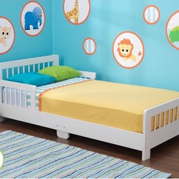 """KidKraft - Slatted Toddler Bed - Features: -Material: Wood.-Fits most crib mattresses.-Low to the ground.-Bed rails keep kids safe and secure.-Smart, sturdy construction.-Distressed: No.-Powder Coated Finish: No.-Gloss Finish: No.-Solid Wood Construction: No.-Hardware Material: Metal.-Scratch Resistant: No.-Mattress Included: No.-Box Spring Required: No.-Slats Required: No.-Slat System Included: Yes.-Center Support Legs: Yes.-Number of Center Support Legs: 2.-Bed Rails: No.-Recommended Age Range: 15 Months and up.-Also Suitable for Adults: No.-Upholstered: No.-Wood Moldings: Yes.-Canopy Frame: No.-Canopy Included: No.-Lighted Headboard: No.-Light Type: No.-Adjustable Headboard Height: No.-Adjustable Shelves: No.-Underbed Storage: No.-Trundle Bed Included: No.-Hidden Storage: No.-Jewelry Compartment: No.-Attached Nightstand: No.-Media Outlet Hole: No.-Built in Outlets: No.-Weight Capacity: 50 lbs.-Finished Back: Yes.-Swatch Available: No.-Commercial Use: No.-Recycled Content: 0%.-Eco-Friendly: No.-Product Care: Wipe with a damp cloth.Specifications: -FSC Certified: No.-EPP Compliant: No.-CPSIA or CPSC Compliant: Yes.-CARB Compliant: Yes.-JPMA Certified: No.-ASTM Certified: Yes.-ISTA 3A Certified: No.-PEFC Certified: No.-General Conformity Certificate: Yes.-Green Guard Certified : No.Dimensions: -Overall Height - Top to Bottom: 18.15"""".-Overall Width - Side to Side: 28.27"""".-Overall Depth - Front to Back: 51.57"""".-Overall Product Weight: 42.24 lbs.Assembly: -Assembly Required: Yes.-Tools Needed: Allen wrench and phillips screwdriver.-Additional Parts Required: No.Warranty: -Product Warranty: 90 Days free replacment parts."""