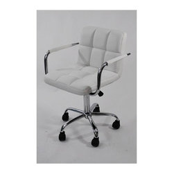 Fine Mod Imports - Studio Office Chair - Contemporary style. Chrome plated steel frame. Five star base with casters. Leatherette seat and back in white. Tilt lock, tilt tension and removable arms. Warranty: 1 year. Assembly required. Seat width: 20 in. W x 18 in. D x 18 in. to 20.5 in. H. Overall: 25 in. W x 24 in. D x 38.5 in. H (30 lbs.)This product offers unique design and comfort all in one package, making it must-have for your office. Office chair looks great in the modern office or home based workstation.