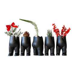 ESW² - Set Of Five Tushiez Winter Greens Planters - This is a set of 5 Tushiez figurines in Black or White Matte This cracked little tush is made of white porcelain or black ceramic with a matte finish, sold as a set to give you even more buns for your buck this holiday season. Pick up this set of 5 at this holiday price -- $5 off each Tushiez for a total savings of $25!