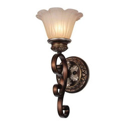 ParrotUncle - Flower Shaped Glass Shade Iron Base Wall Sconce - Make a bold and graceful style statement to your home with this beautiful wall sconce. Featuring a solid iron base in antiqued finish and a creamy flower shaped glass shade, this light fixture is a must have addition to your transitional or contemporary decor setting.