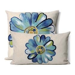 Daisy Aqua Outdoor Pillow - Daisy Aqua outdoor pillow design.