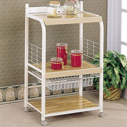 Utility Stand And Basket In White Laminated Wood - Utility Stand And Basket In White Laminated Wood with basket, casters & laminated shelves. Add this piece to feel more convenience while dining.