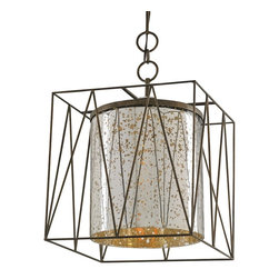 Currey & Company - Marmande Square Lantern - Mouth-blown glass captured in a square wrought iron cage is used to create the Marmande Lantern. The blown glass interior is finished with a stunning mercury glass effect with the addition of an antique gold wash.
