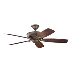 "Kichler - 52"" Monarch II Patio 52"" Ceiling Fan Weathered Copper Powder Coat - Kichler 52"" Monarch II Patio Model KL-310103WCP in Weathered Copper Powder Coat with Walnut (Screen Print) Finished Blades."