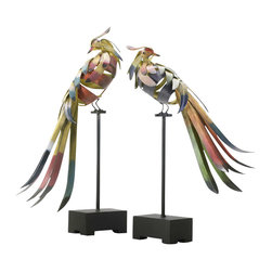 "Multi-Colored Birds - - 19.75""(h)x4.5""(w)x16""(l)"