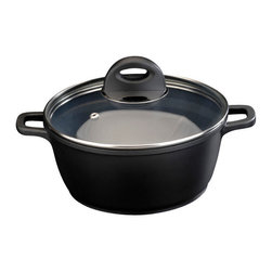 Berghoff - Berghoff Cook & Co Cast Covered Casserole 2.2-Quart - 2.2 Qt covered casserole. Body is made of cast aluminum for fast and even heat distribution. Paired with a ceramic non-stick coating, this cookware makes preparing your favorite dishes a breeze.