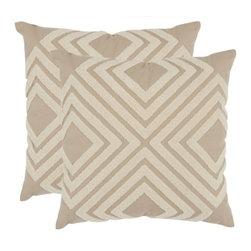 Safavieh - Stella Accent Pillow  - Orange,Gray - Stella Accent Pillow  - Orange,Gray