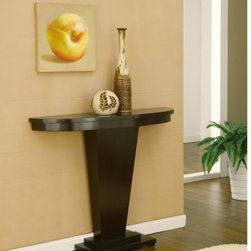 Hokku Designs - Bronx Console Table - Features: -Molded half round table top and reversed pyramid base.-MDF and wood veneers construction.-Coffee bean finish.-Distressed: No.Dimensions: -Overall Product Weight: 36lbs.