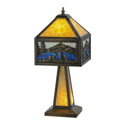 Meyda - Meyda Tiffany Deer Lodge Lighted Base Yellow Table Lamp - Meyda Tiffany was founded when Meyer Cohen was asked by his wife Ida (whose names were combined into the company name Meyda) to build a stained glass window in their kitchen so they wouldn't have to look at the vintage cars in their neighbor's driveway. What began as a hobby evolved into America's leading and oldest manufacturer of custom and decorative lighting. Today Meyda is still a family-run business with the Cohens' son Robert at the helm. Features include Theme: Rustic Mission Lodge Animals Family: Deer Lodge Every Meyda Tiffany item is a unique handcrafted work of art. Natural variations in the wide array of materials that they use to create each Meyda product make every item a masterpiece of its own. Photographs are a general representation of the product. Colors and designs will vary.. Specifications Number Of Bulbs: 1 + 1 Bulb Wattage: 60 + 15 Bulb Type: Medium Base + Candelabra Base.