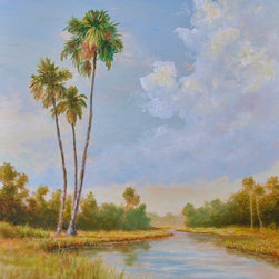 "Original Tropical Landscape Painting  Amber Light - Amber Light is an original 24""x18"" acrylic on canvas tropical painting in a 2-1/2"" wide wood frame and ready to hang. The soft amber sunlight in the waning hours of the day pours over the marsh land. Tall palm trees seem to guard the landscape."