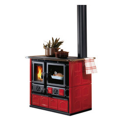 "La Nordica - Wood Cook Stove La Nordica 'Rosa Maiolica' Wood-Burning Cooker, Bordeau - Wood Cooking Stove La Nordica ""Rosa Maiolica"""