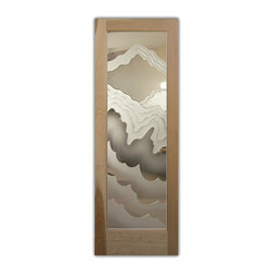 """Interior Glass Doors - Rugged Waves - Design, Interior Glass Doors -  Quality frosted designs that YOU Customize to suit YOUR decor! Hundreds of Interior Glass Door Designs create obscurity thru art! Interior glass doors ship for just $99 to most states, $159 to some East coast regions, custom packed and fully insured with a 1-4 day transit time.  Available any size, as interior door glass insert only or pre-installed in an interior door frame, with 8 wood types available.  ETA will vary 3-8 weeks depending on glass & door type.........Block the view, but brighten the look with a beautiful interior glass door featuring a custom frosted glass design by Sans Soucie!   Select from dozens of sandblast etched obscure glass designs!  Sans Soucie creates their interior glass door designs thru sandblasting the glass in different ways which create not only different levels of privacy, but different levels in price.  Bathroom doors, laundry room doors and glass pantry doors with frosted glass designs by Sans Soucie become the conversation piece of any room.   Choose from the highest quality and largest selection of frosted decorative glass interior doors available anywhere!   The """"same design, done different"""" - with no limit to design, there's something for every decor, regardless of style.  Inside our fun, easy to use online Glass and Door Designer at sanssoucie.com, you'll get instant pricing on everything as YOU customize your door and the glass, just the way YOU want it, to compliment and coordinate with your decor.   When you're all finished designing, you can place your order right there online!  Glass and doors ship worldwide, custom packed in-house, fully insured via UPS Freight.   Glass is sandblast frosted or etched and bathroom door designs are available in 3 effects:   Solid frost, 2D surface etched or 3D carved. Visit our site to learn more!"""