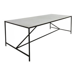 "Oly Studio - Oly Studio Paxton Dining Table - Minimalist style defines the Oly Studio Paxton dining table's design. Atop an angular iron base, a rectangular surface provides industrial interiors rich, custom texture. 94.5""W x 39.25""D x 30""H; Available with a resin, wood or hammered aluminum top; Several finish options"