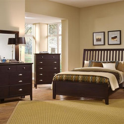 Vaughan Bassett - 5-Piece Slat Panel Bedroom Set in Merlot Fini - Choose Bed Size: QueenIncludes slat panel bed, chest, nightstand, triple dresser and landscape mirror. Merlot finish. Assembly required. Chest:. 5 Drawers. 38 in. W x 18 in. D x 51 in. H. Nightstand:. 2 Drawers. 26 in. W x 16 in. D x 29 in. H. Triple dresser:. 7 Drawers. 56 in. W x 18 in. D x 41 in. H. Landscape mirror:. Beveled glass. 35 in. L x 3 in. W x 39 in. H. Slat panel bed:. Full Size:. Includes slat headboard, platform footboard, wood rails and 3 1-inch slats. Slat headboard: 56 in. L x 4 in. W x 52 in. H. Platform footboard: 57 in. L x 2.5 in. W x 21 in. H. Wood rails: 76 in. L x 6 in. W x 1 in. H. Queen Size:. Includes slat headboard, platform footboard, wood rails and slats. Slat headboard: 63 in. L x 6 in. W x 58 in. H. Platform footboard: 64 in. L x 2.5 in. W x 21 in. H. Wood rails: 82 in. L x 6 in. W x 1 in. H. King Size:. Includes slat headboard, platform footboard, wood rails and metal support slats. Slat headboard: 80 in. L x 6 in. W x 58 in. H. Platform footboard: 81 in. L x 2.5 in. W x 21 in. H. Wood rails: 82 in. L x 6 in. W x 1 in. H. Under bed storage box: 52 in. L x 19 in. W x 7.5 in. H (optional)