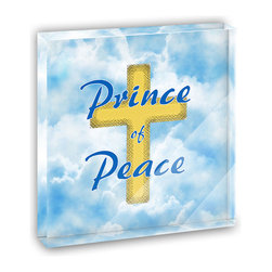 "Made on Terra - Prince of Peace Jesus Christ Cross and Clouds Mini Desk Plaque and Paperweight - You glance over at your miniature acrylic plaque and your spirits are instantly lifted. It's just too cute! From it's petite size to the unique design, it's the perfect punctuation for your shelf or desk, depending on where you want to place it at that moment. At this moment, it's standing up on its own, but you know it also looks great flat on a desk as a paper weight. Choose from Made on Terra's many wonderful acrylic decorations. Measures approximately 4"" width x 4"" in length x 1/2"" in depth. Made of acrylic. Artwork is printed on the back for a cool effect. Self-standing."