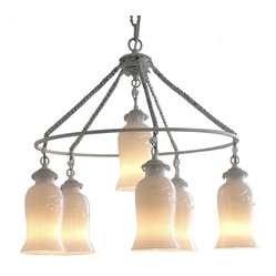 Sara Milk Glass Chandelier, Small