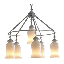Sara Milk Glass Chandelier, Small - This stunning chandelier can be customized with the glass colors and finishes, and adds a stunning and exotic touch over a dining table, kitchen table or in an entryway.