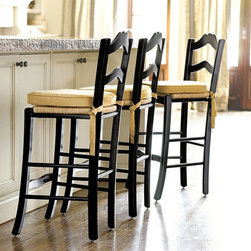 Ballard Designs - LeMans Counter Stool - Big looks at a great price. Hand rubbed finishes. Our LeMans Counter Stools are designed to capture the soul of French country furniture. Each frame is crafted of solid beechwood with hand woven rush seat. Scalloped ladder backs are gently contoured for added comfort. Coordinates with Ballard Basic Cushion FC124.LeMans Counter Stools feature:. .
