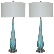 Modern Table Lamps Vintage Murano Table Lamps in Turquoise with Copper Inclusions