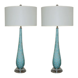 Vintage Murano Table Lamps in Turquoise with Copper Inclusions - If you're feeling a little color shy, ease your way in with a pair of vintage blue lamps.