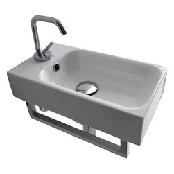 "WS Bath Collections - Cento 3537 Wall Hung or Counter Top Ceramic Sink 17.7"" x 9.8"" - Cento by Wes Bath Collections Bathroom Sink, Designed by Marc Sadler of Italy, counter top or wall mount installation, in ceramic white"