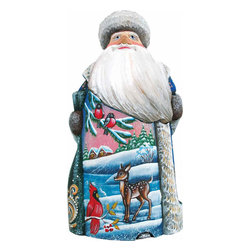 "Artistic Wood Carved Village Fawn and Bird Santa Claus Sculpture - Measures 6.5""H x 3.5""L x 3.25""W and weighs 1 lb. G. DeBrekht fine art traditional, vintage style sculpted figures are delightful and imaginative. Each figurine is artistically hand painted with detailed scenes including classic Christmas art, winter wonderlands and the true meaning of Christmas, nativity art. In the spirit of giving G. DeBrekht holiday decor makes beautiful collectible Christmas and holiday gifts to share with loved ones. Every G. DeBrekht holiday decoration is an original work of art sure to be cherished as a family tradition and treasured by future generations. Some items may have slight variations of the decoration on the decor due to the hand painted nature of the product. Decorating your home for Christmas is a special time for families. With G. DeBrekht holiday home decor and decorations you can choose your style and create a true holiday gallery of art for your family to enjoy. All Masterpiece and Signature Masterpiece woodcarvings are individually hand numbered. The old world classic art details on the freehand painted sculptures include animals, nature, winter scenes, Santa Claus, nativity and more inspired by an old Russian art technique using painting mediums of watercolor, acrylic and oil combinations in the G. Debrekht unique painting style. Linden wood, which is light in color is used to carve these masterpieces. The wood varies slightly in color."