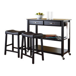 Crosley Furniture - Crosley Furniture 42x18 Solid Black Granite Top Kitchen Cart/Island w/ 24 Inch B - Constructed of solid hardwood and wood veneers, this mobile kitchen cart is designed for longevity. The handsome raised panel drawer fronts provide the ultimate in style to dress up any culinary space. Two deep drawers are great for holding essential items, such as utensils or storage containers. The adjustable/removable shelf is great for appliances. Remove the shelf completely to allow for storing larger objects. The heavy duty casters provide the ultimate in mobility. When the cabinet is where you want it, simply engage the locking casters to prevent movement. Style, function, and quality make this mobile solution a wise addition to your home.