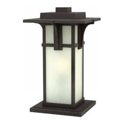 Hinkley Lighting - Manhattan Outdoor Deck Post Lantern - Manhattan Outdoor Deck Lantern is available in a Oil Rubbed Bronze with Clear Beveled or Etched Seedy Glass. Clear Beveled Glass: One 100 watt, 120 volt Edison A Shape type Medium base Incandescent lamp is required, but not included. Etched Seedy: One 100 watt, 120 volt A19 type Medium base Incandescent lamp is required, but not included. 11.3 inch width x 18.5 inch height. Listed for Wet Locations.