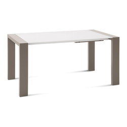 DomItalia Furniture - Fashion-160 Extendable Rectangular Table in Taupe / White - Made in Italy. This dining table from the Fashion collection by Domitalia features four sturdy block legs which finished in taupe mat lacquer that provide structural support. Also features one (1) 20 inch leaf extends the dining table from 64 inches to 84 inches (160 cm to 210 cm) long. Pair with any chairs for a stylish modern ensemble.