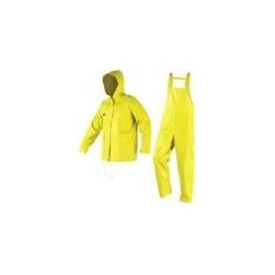Rain suits Yellow 3 Piece - The industrial Rain suit (3 piece design) is made for all day use in the rain. These rain suits combine of PVC with polyester. These are heavy weight 35mm and provide protection from chemical splashes.