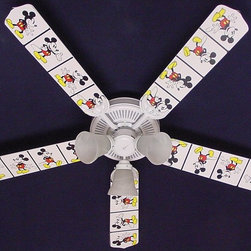 Ceiling Fan Designers - Ceiling Fan Designers Disney Mickey Mouse 2 Indoor Ceiling Fan - 42FAN-DIS-DMMW - Shop for Ceiling Fans and Components from Hayneedle.com! Perfect for your Disney-themed room the Ceiling Fan Designers Disney Mickey Mouse 2 Indoor Ceiling Fan is filled with Mickey Mouse magic. This ceiling fan and light kit combo has a classic Mickey Mouse design with a white background. It comes in your choice of size: 42-inch with 4 blades or 52-inch with 5. The blades are reversible so you the all-over Mickey Mouse design on one side and classic white on the other. It has a powerful yet quiet 120-volt 3-speed motor with easy switch for year-round comfort. The 42-inch fan includes a schoolhouse-style white glass shade and requires one 60-watt candelabra bulb (not included). The 52-inch fan has three alabaster glass shades and requires three 60-watt candelabra bulbs (included). Your ceiling fan includes a 15- to 30-year manufacturer's warranty (based on size). It is not an officially licensed product. Licensed products were used as decorations.