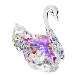 """Inviting Home - Colored Cut Crystal Swan - colored cut crystal swan; 2.7"""" x 2.9""""H; The colored crystal swan is made of the finest Bohemian crystal from the Czech Republic. The colored crystal swan is made of a cut crystal with smooth crystal for its elegant neck. This exquisite crystal figurine is manufactured by Preciosa a world-class producer of fine crystal and comes with a certificate of authenticity. Preciosa hereby states that this product is not suitable for children under 13 years of age. Preciosa Crystal Figurines embody an outstanding example of skillful craftsmanship cut by machine with meticulous accuracy and the expertise of artisans who pay attention to precise details while putting these pieces together by hand. These pieces are crafted to provide a joy to those who view them while showing off its luster and sensational beauty. Each figurine is accompanied with a Certificate of Authenticity that certifies the genuineness of the Bohemian crystal of which it is made. The colored cut crystal swan makes a perfect gift for trinket collectors or who love all things crystal. This figurine also makes a wonderful wedding or Valentine's day gift. usually ships within 2 - 3 weeks"""