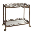 Grace Feyock - Grace Feyock Nicoline Serving Cart X-70342 - Forged iron with brass patina and clear, tempered glass. Features stemware hanger and rolling casters.