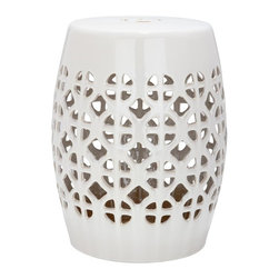 Safavieh - Amorgos Garden Stool - It?s simple geometry: this transitional garden stool has a circle and square lattice motif that brings a chic new look to an ages-old Chinese classic. Use this striking accent piece as an extra seat, plant stand or side table indoors or out:  its glazed cream ceramic stands up to the elements.
