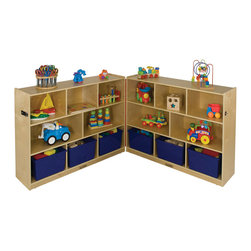 """Ecr4kids - Ecr4Kids Home Kids Room Toy Storage 36"""" Fold And Lock Cabinet - 8 Compartment - A unique, folding classroom storage system, this unit swings open and closed on heavy-duty casters, and features a full-length piano hinge, which is secured with a sturdy clasp. Unit has 8 Compartments in each side to hold toys, puzzles and storage bins up to 12 deep. Constructed of birch ply with a beautiful natural finish."""