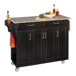 Salt & Pepper Granite Top Kitchen Cart in Blac - Home Styles - Kitchen ...