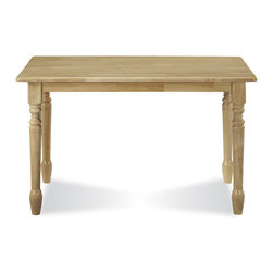 International Concepts - Classic Rectangular Table in Natural Finish - This classic style rectangular table has a natural finish and it's solid wood meaning it's going to be around awhile.  Spindle legs add style.  Table measures 29 1/2 inches high x 30 inches wide x 48 inches long. * Solid wood construction. Assembly required. 30 in. W x 48 in. L x 29.5 in. H