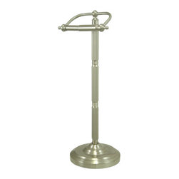 "Kingston Brass - Pedestal Toilet Paper Holder - Kingston Brass' bathroom accessories are built for long-lasting durability and reliability. They are designed so you can easily coordinate matching pieces. Each piece is part of a collection that includes everything you need to complete your bathroom decor.; 21-1/2"" tall; 7-1/2"" diameter base; 6-1/4"" toilet paper rod; No tools required for assembly; Matching accessories available; Material: Brass; Finish: Satin Nickel; Collection: Vintage"
