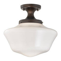 Design Classics Lighting - 14-Inch Wide Schoolhouse Ceiling Light in Bronze Finish - FES-220/ GA14 - This semi-flushmount light is a part of Design Classics Lighting's Powellhurst Blaine Collection. It is designed after the classic schoolhouse style light fixtures. Whether you live in an old Victorian farmhouse, a 1942 craftsman bungalow, or a mission style house, this fixture, with its clean simple lines, will be prefect to keep with the character of an old setting without being too modern. It features an opal glass shade and comes with a handsome neuvelle bronze finish, creating a wonderful look for kitchens, hallways, or living rooms. It comes with dimensions of 14-inch wide by 13-inch high. Takes (1) 100-watt incandescent A19 bulb(s). Bulb(s) sold separately. UL listed. Dry location rated.