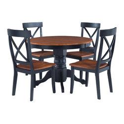 Black/ Cottage Oak 5-piece Dining Furniture Set -